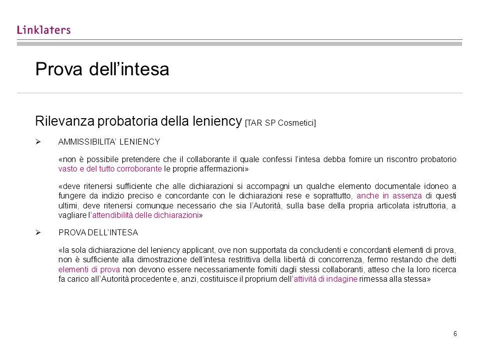 Prova dell'intesa Rilevanza probatoria della leniency [TAR SP Cosmetici] AMMISSIBILITA' LENIENCY.